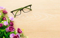 Glasses. Pair of glasses on wooden table. take a break royalty free stock photos