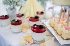 Glasses of panna cotta dessert. Royalty Free Stock Photography