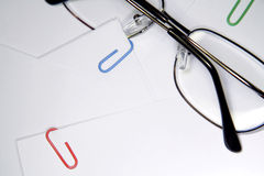 Glasses on paper stock images