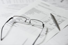 Glasses on paper Stock Photography