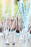 Glasses and Party Straws Royalty Free Stock Image