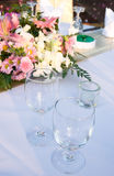 Glasses on a party table. Royalty Free Stock Photos