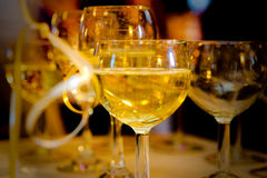 Glasses at a party. Wine glasses at a wedding reception Royalty Free Stock Photos