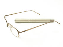 Glasses and pen stock image