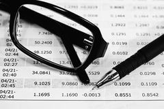 Glasses, Pen And Financial Documents Royalty Free Stock Image