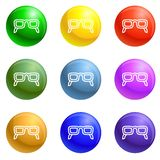 Glasses and pen icons set vector royalty free illustration