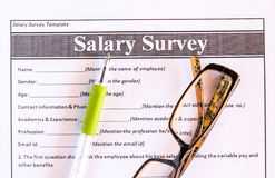 Glasses and pen on salary survey from Royalty Free Stock Photos