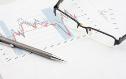 Glasses and Pencil Royalty Free Stock Photos
