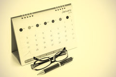Glasses, pens, calendars Royalty Free Stock Photography