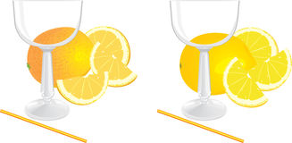 Glasses and pieces of lemon and orange Stock Images