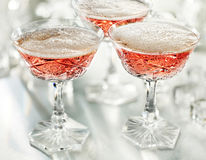 Glasses of pink champagne Royalty Free Stock Photos