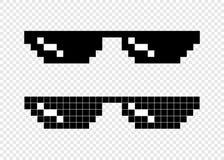 Glasses pixel 8-bit on transparent background Royalty Free Stock Photos