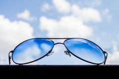 Glasses placed on the beam Stock Photography