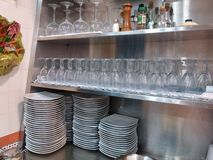 Glasses and plates Stock Image