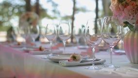 Glasses in plates in restaurant