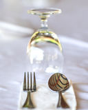 Glasses and plates on table in restaurant - food background Royalty Free Stock Images