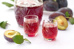 Glasses of plum alcohol and fresh plums Royalty Free Stock Photo