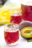 Glasses of plum alcohol with plums Royalty Free Stock Photo