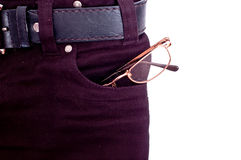 Glasses in pocket Royalty Free Stock Image