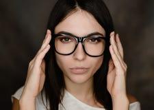 glasses portrait wearing woman 免版税库存照片