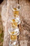 Glasses with rakija. On a wooden background Stock Photos