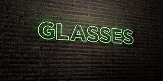 GLASSES -Realistic Neon Sign on Brick Wall background - 3D rendered royalty free stock image Stock Images