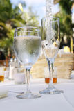 Glasses on reception table Royalty Free Stock Photo