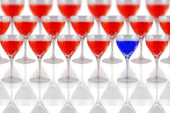 Glasses with red and blue liquid Royalty Free Stock Images