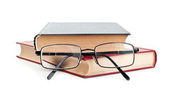 Glasses and red book Stock Photo