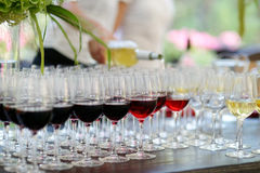 Glasses of red and white wine. In a row stock photo