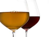 Glasses of red and white wine Royalty Free Stock Image