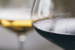 Glasses of Red and White Wine Close Up. Selective Focus stock photos