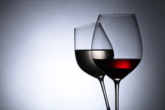 Glasses with red and white wine,free space for your text Stock Image