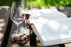 Glasses with red and white wine, pieces of chocolate, book. Glasses with red and white wine, pieces of chocolate with nuts and raisins on background of open book Stock Photo