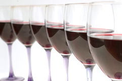 Glasses with red wine. Wine glasses royalty free stock images