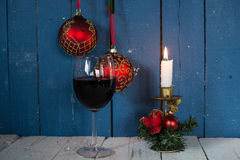 Glasses of red wine with Christmas decoration Stock Photography