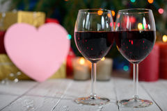 Glasses of red wine with Christmas decoration Royalty Free Stock Photography