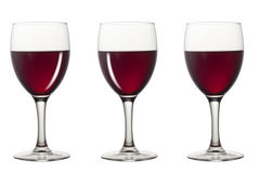 Glasses of red wine with different reflex. 3 Glasses of red wine with different reflex Stock Photography