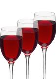 Glasses of red wine isolated Royalty Free Stock Photos
