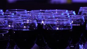 Glasses of red wine in a restaurant. stock video footage
