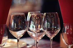 Glasses of red wine at restaurant Stock Photo