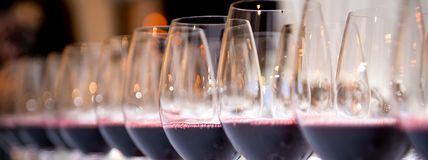 Glasses of red wine in a row on a table royalty free stock photo