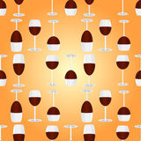 Glasses with red wine seamless pattern Stock Photo