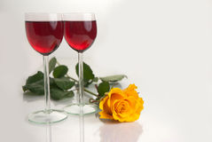 Glasses with Red Wine on White Royalty Free Stock Image
