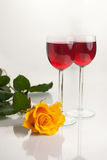 Glasses with Red Wine on White Royalty Free Stock Photo