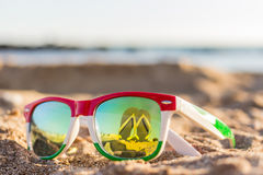Glasses. The reflection of the holiday and relaxation Royalty Free Stock Photo