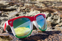 Glasses. The reflection of the holiday and relaxation Royalty Free Stock Photos