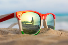 Glasses. The reflection of the holiday and relaxation Stock Image