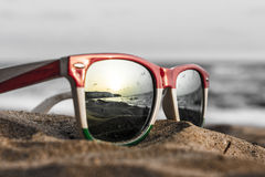 Glasses. The reflection of the holiday and relaxation Royalty Free Stock Image