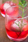 Glasses of refreshment raspberry flavour fizz. With ice and rosemary on wood table decorated with berry and leaf Stock Photography